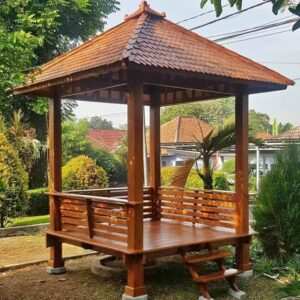 gazebo taman kayu jati minimalis