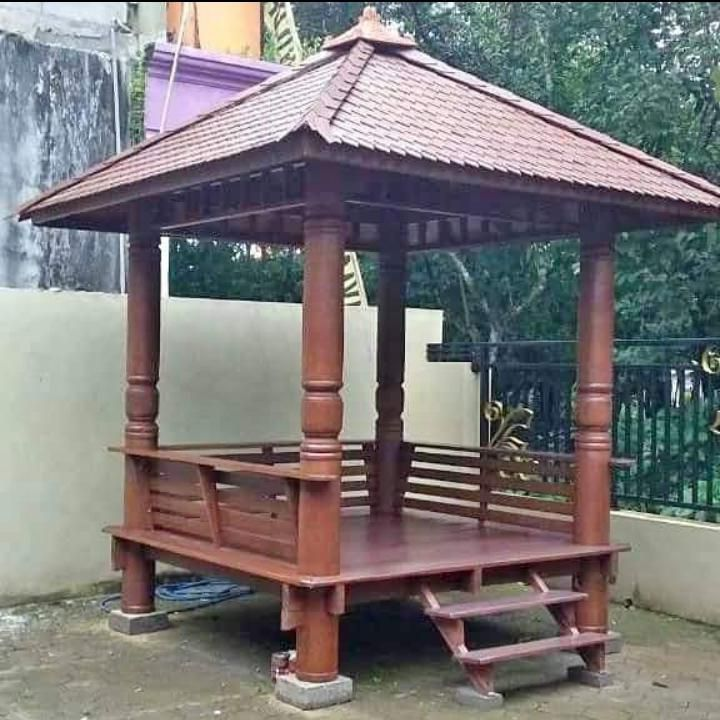 gazebo taman sederhana kayu jati