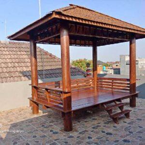 Gazebo Minimalis Atap Sirap Kayu Jati